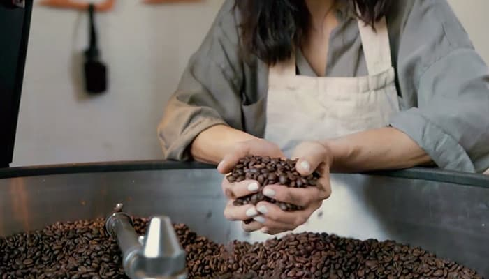 Female hands scooping coffee beans from bin
