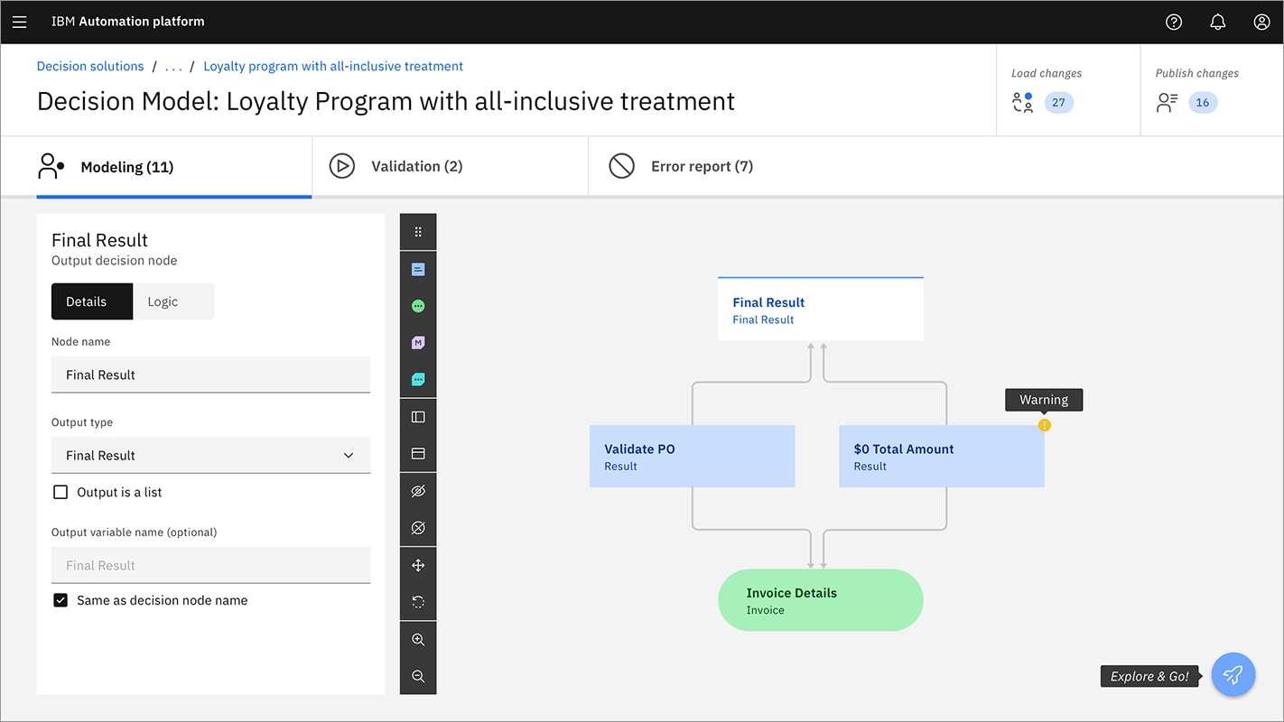 Screenshot of IBM Automation platform loyalty program decision model