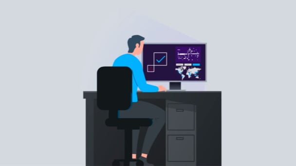 Illustration showing a person at a desk with a computer monitor showing graphs