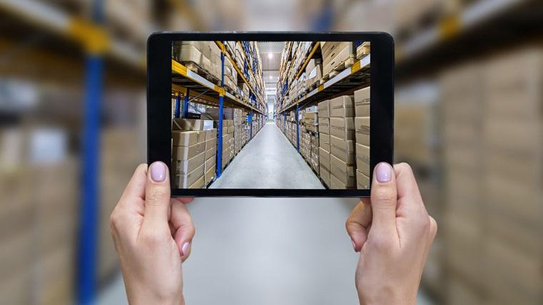 Warehouse seen through tablet device camera