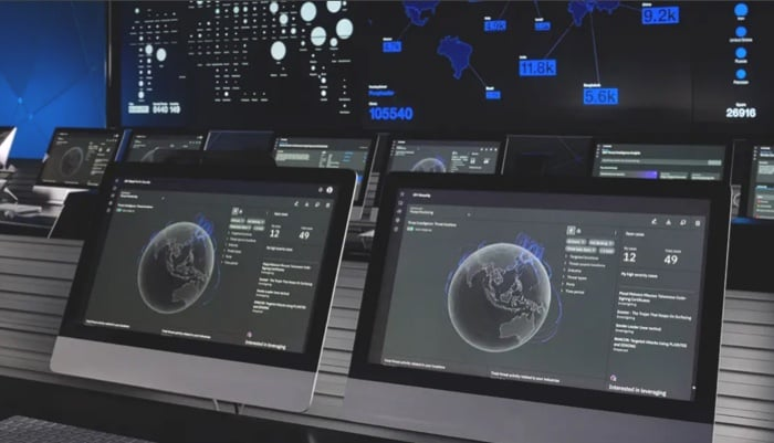 monitors screens on a security center
