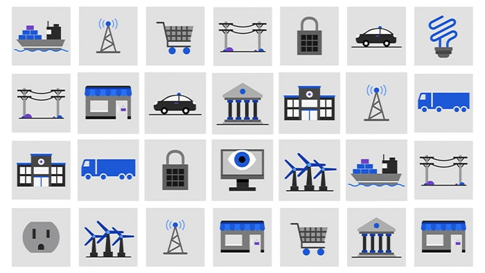 Collection of industry related pictograms arranged in a grid pattern