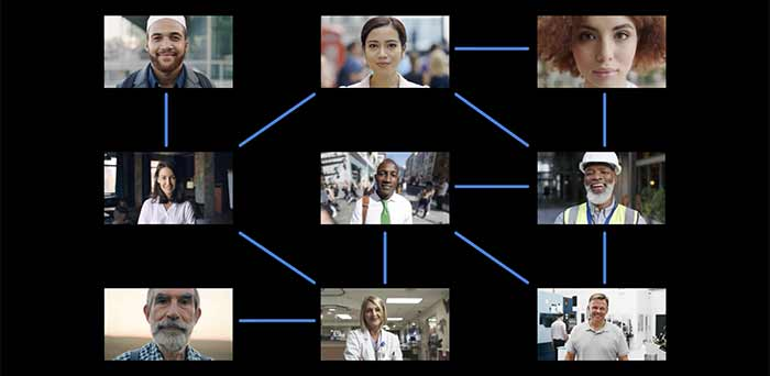 Group of people digitally connected through a network