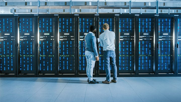 Two men in a data center