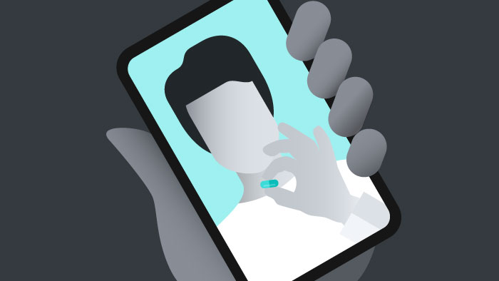drawing of a hand holding a smartphone with a person on it holding a pill