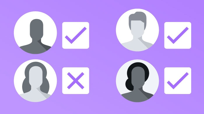 drawing of four user icons with checkboxes beside them