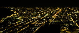 City street lights from above