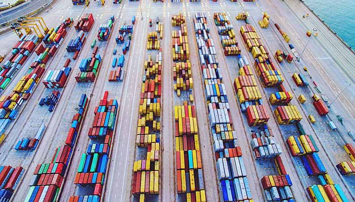 Aerial view of shipping containers at port