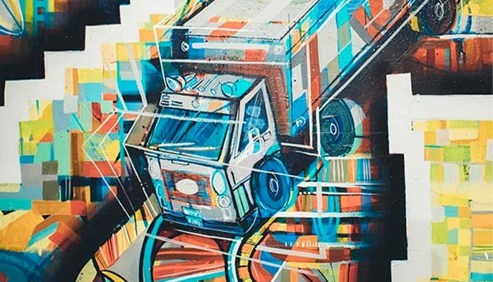Colorful artwork depicting a delivery truck