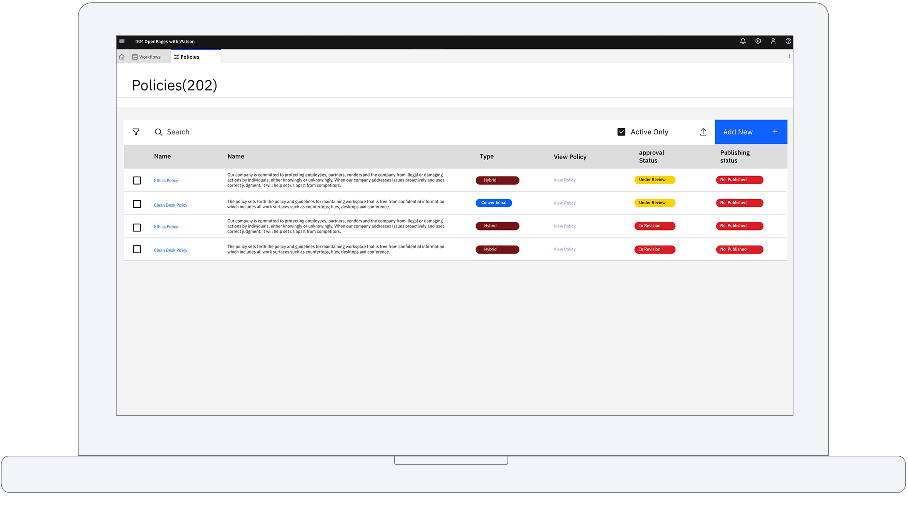 Single view of policies dashboard
