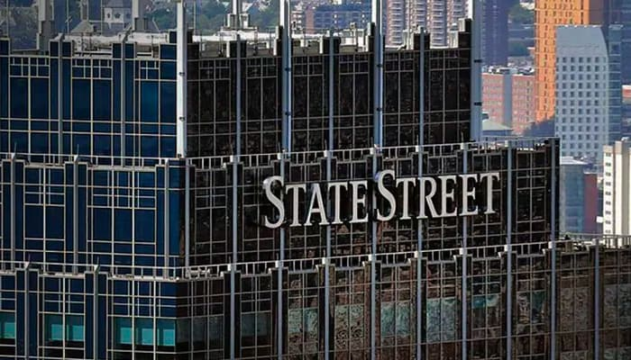 State street sign on a skyscraper