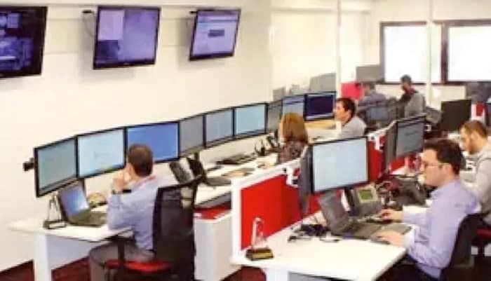 People in computer security risk center