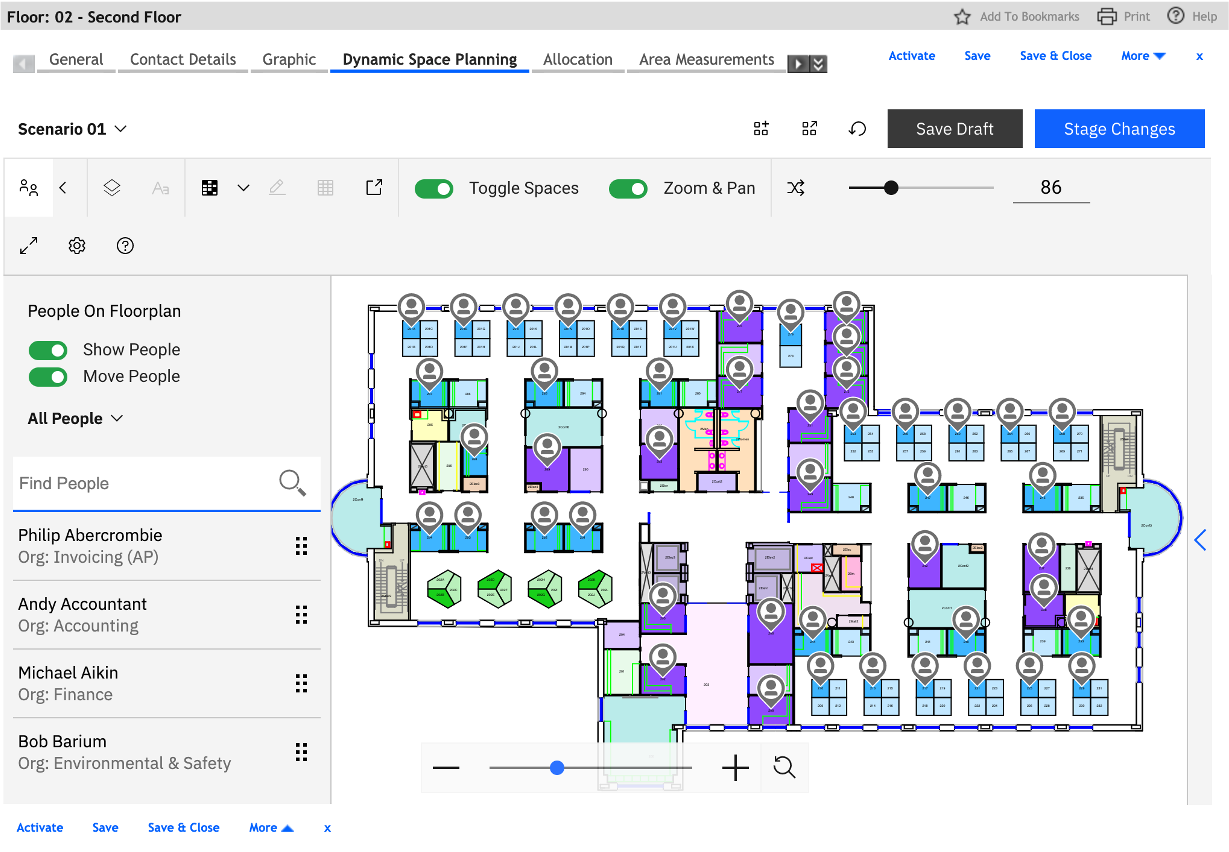 Dynamic space planning dashboard screenshot