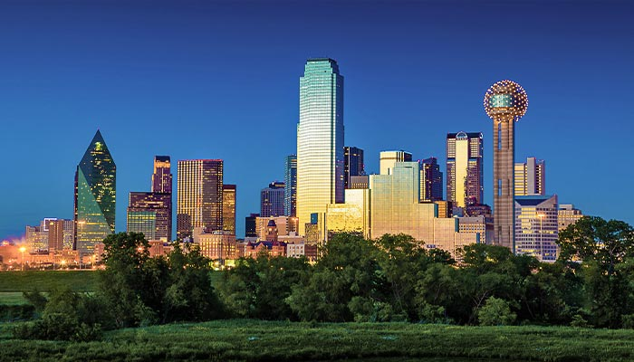 Cityscape of Dallas near sunset
