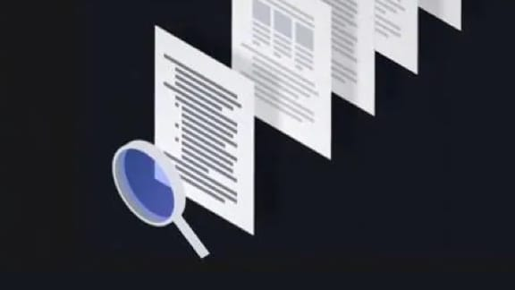 Illustration magnifying glass looking over documents
