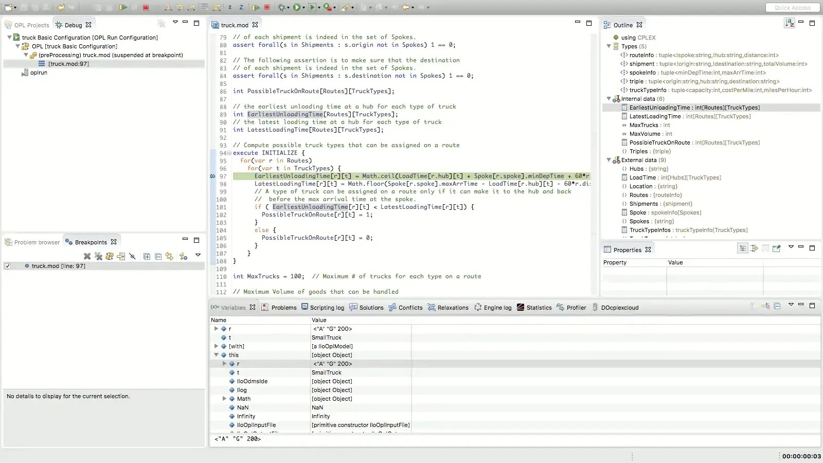 Screenshot showing the debugging process in OPL++