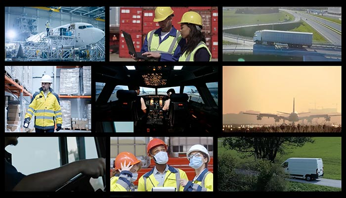 Collage of various supply chain and transportation themed images