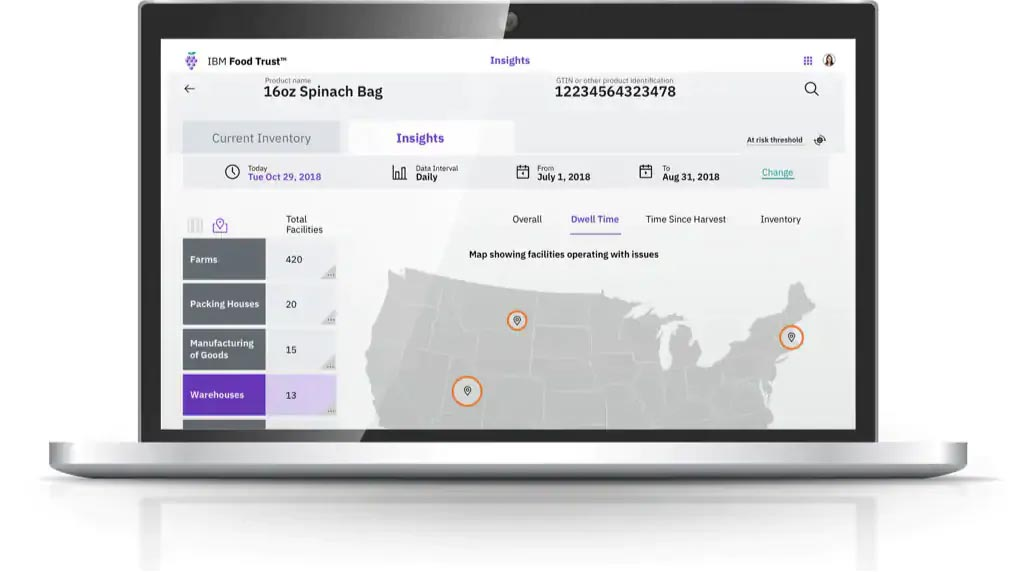IBM Food Trust software, Facility Overview interface screen