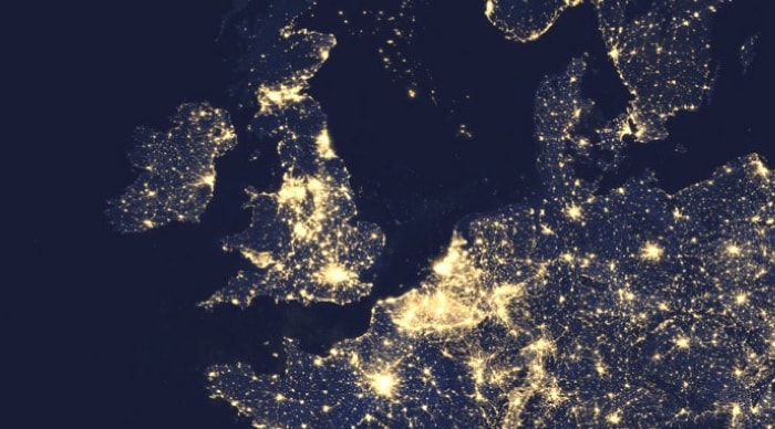 Satellite view of UK and Europe at night