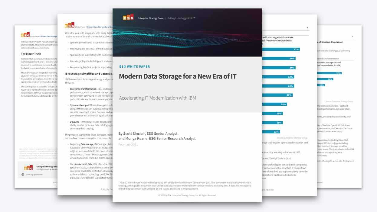 "Several pages from the ESG white paper, ""Modern Data Storage for a New Era of IT."""