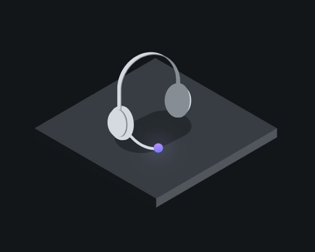 isometric drawing of customer service headset