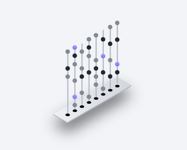 isometric drawing of multicolored dots on strands