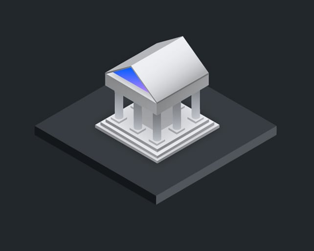 isometric drawing of a classical building
