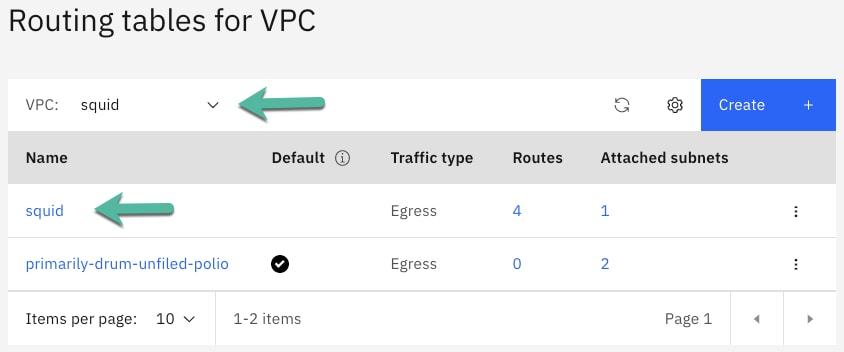 Finally, the beauty of VPC routing and NFV can be seen by opening the routing tables, selecting the VPC and clicking on the route table