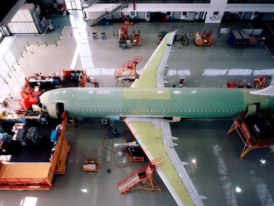 Airplane being built in hangar