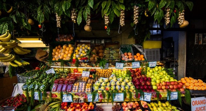 Market with fruits and vegetables