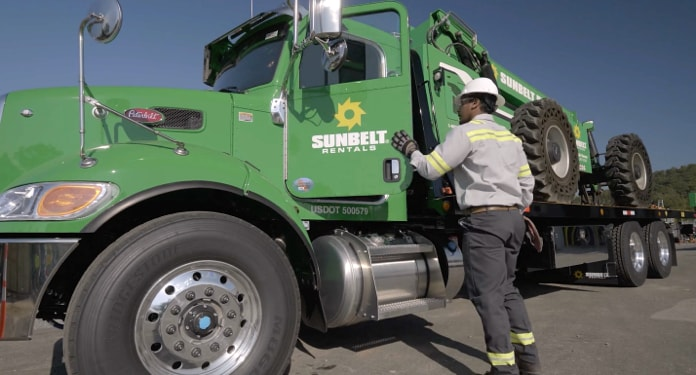 Man getting out of Sunbelt rental truck