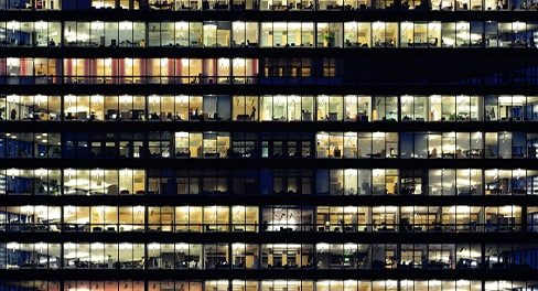 A view of an office building at night