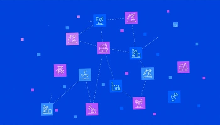 Cluster of interconnected industry pictograms on a blue background