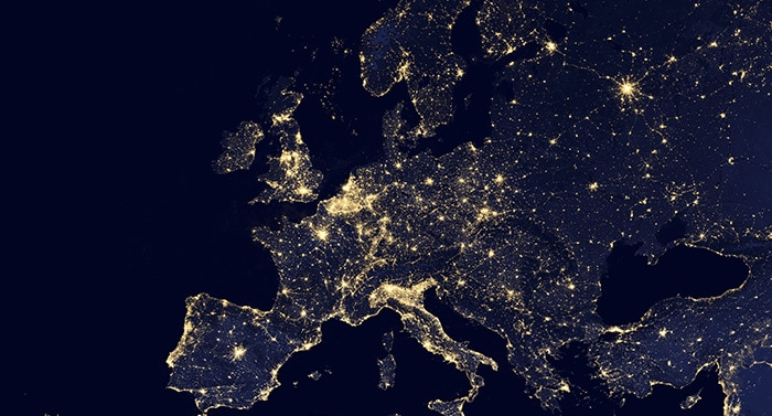 Illuminated map of Europe