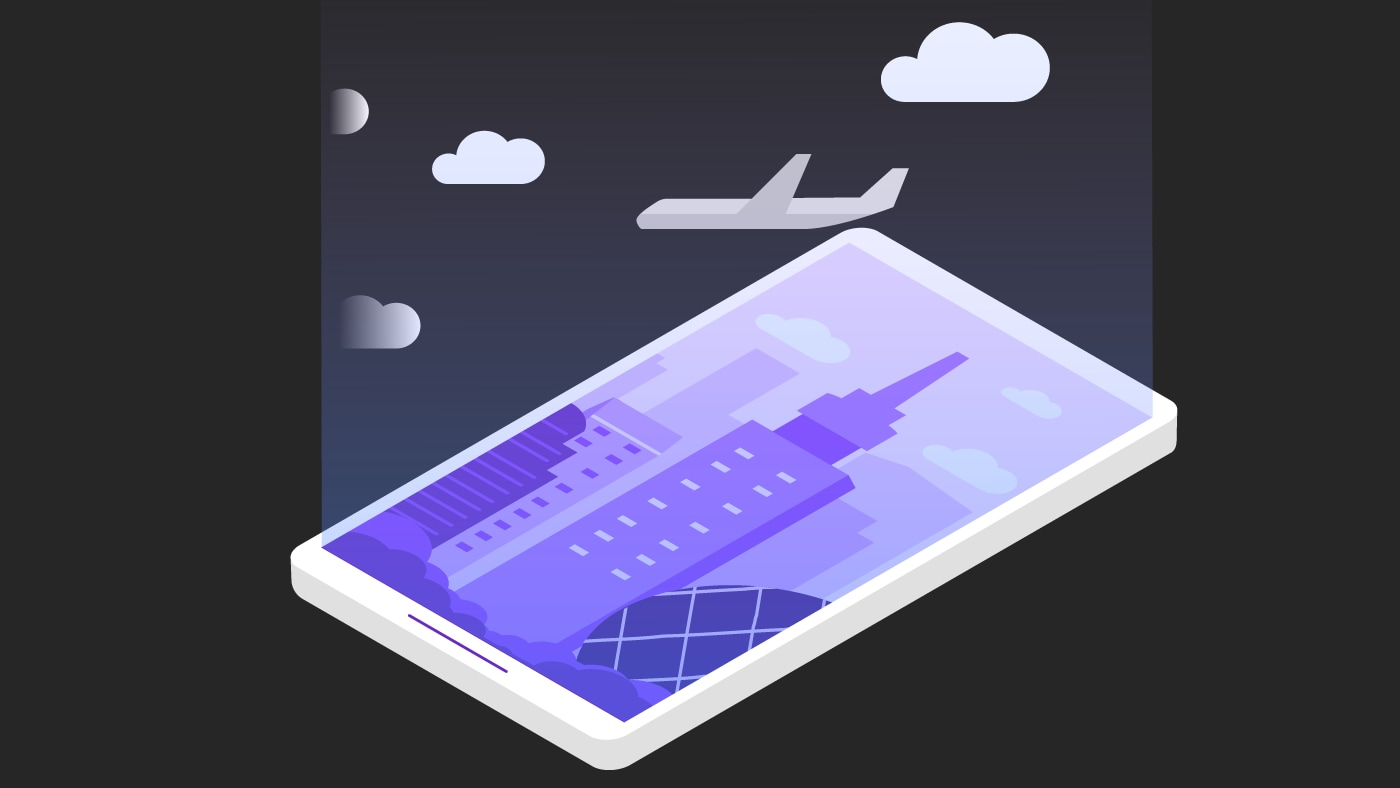 isometric of a plane and a building