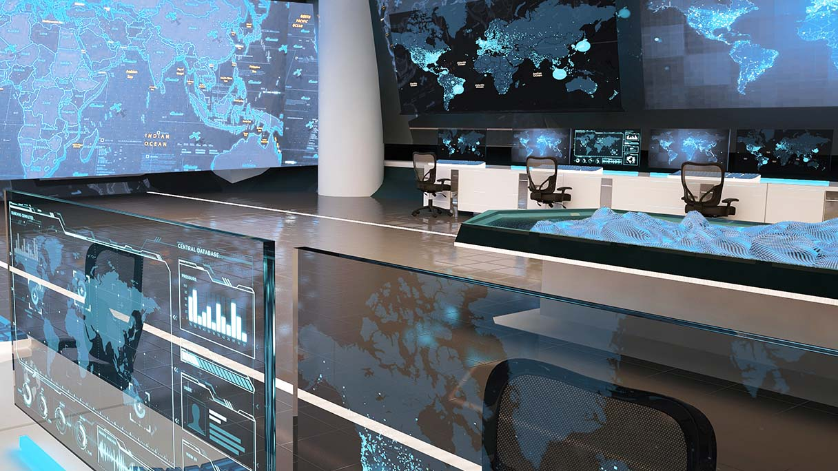 Security operations center with activity dashboards