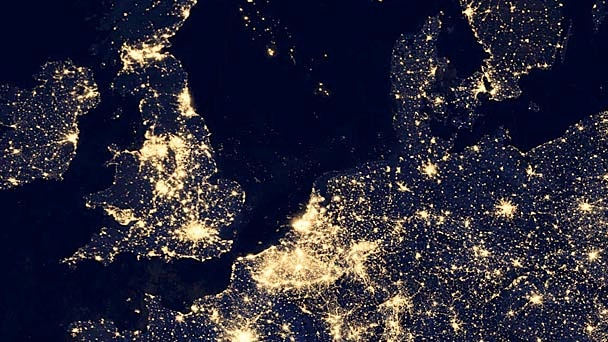European cities lit at night viewed from space