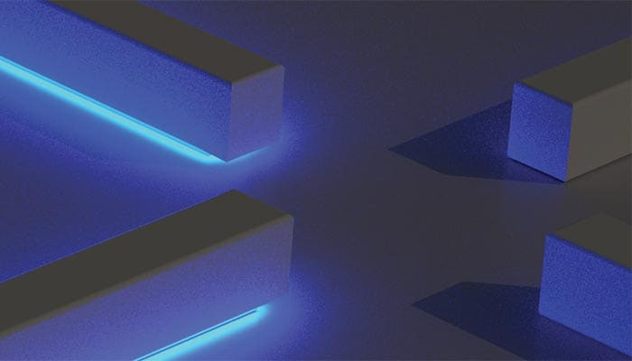 Glowing blue bars at right angles to one another in close proximity