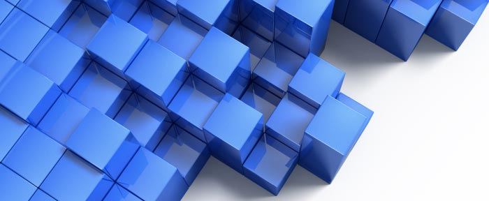 A large number of identical blue cubes
