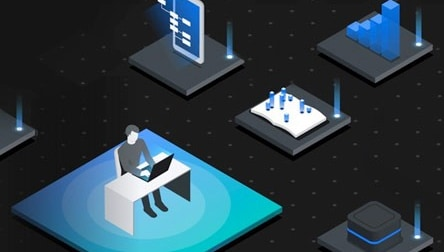 Animated image of a person working on a system