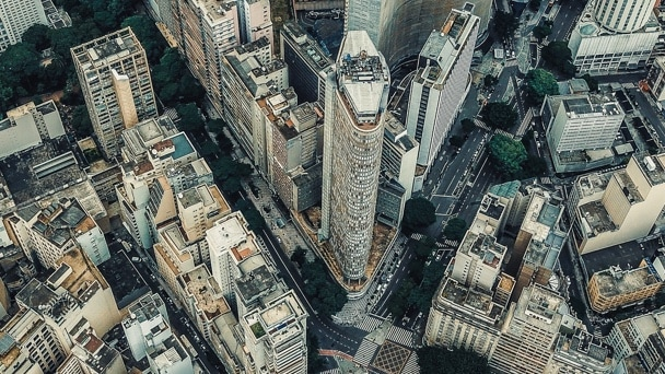 Aerial view of a city landscape