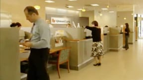 People working in a bank