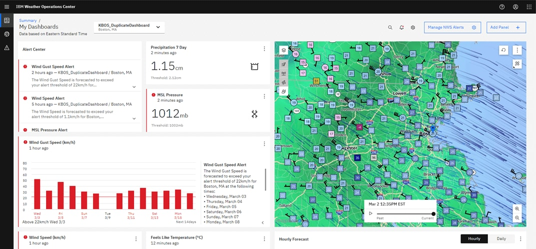 Screenshot of IBM Weather Operations Center product dashboard