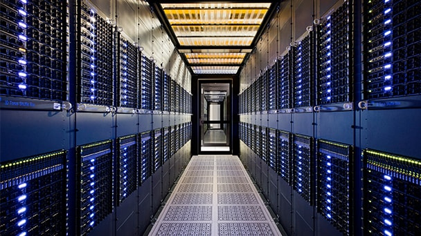 Racks of servers in data center