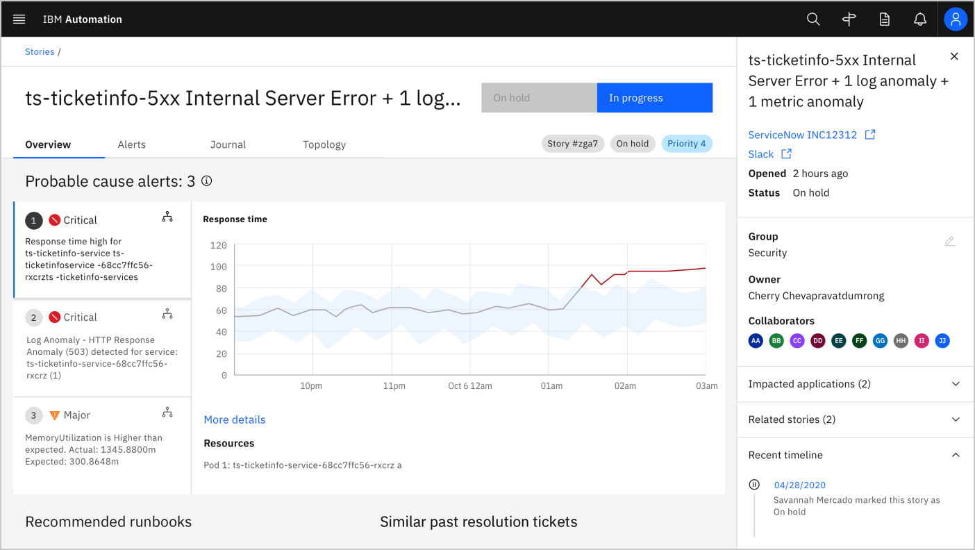 Screenshot of a dashboard showing an overview of a internal server error ticket with three probable cause alerts