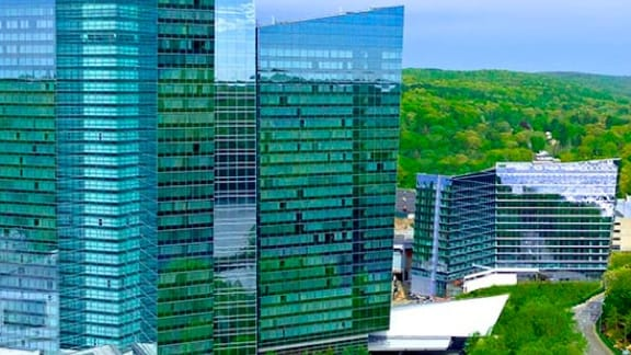 Glass and steel buildings against verdant background