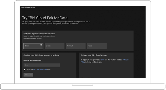 screenshot showing IBM Cloud Pak for Data