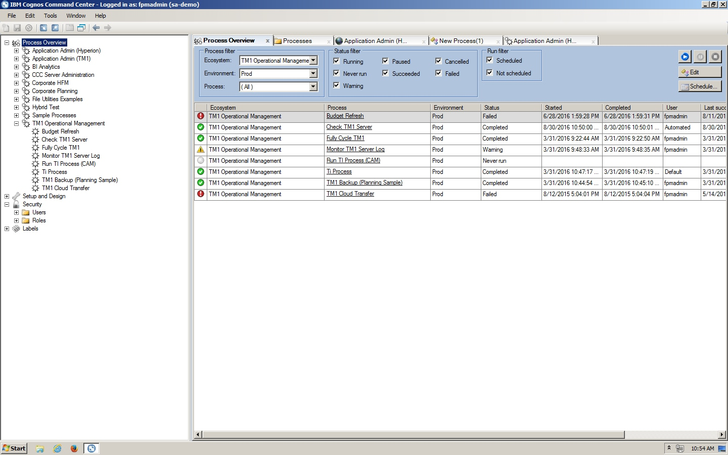 Screenshot showing the Process Overview tab in IBM Cognos Command Center