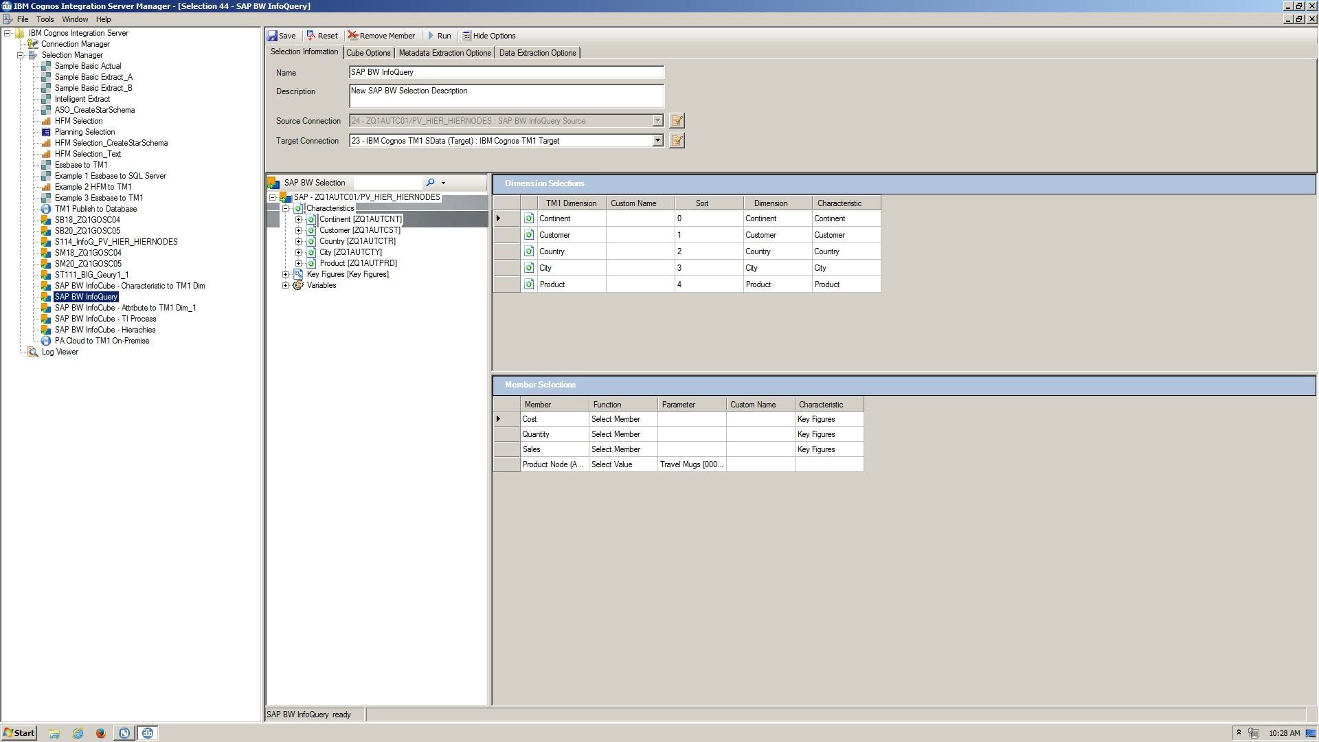 Screenshot showing data extraction in IBM Cognos Integration Server