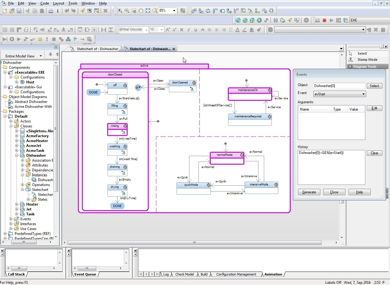 Screenshot of modeled product simulation